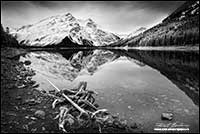 Black and white photo of Upper Kananaskis lake in winter by Robert Berdan