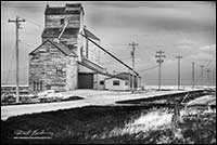 Black and white photo of Grain elevators from Sourther Alberta by Robert Berdan