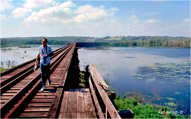 Budd Watson on top of the Hog Bay Trestle in Port McNicoll by Karl Berdan ©