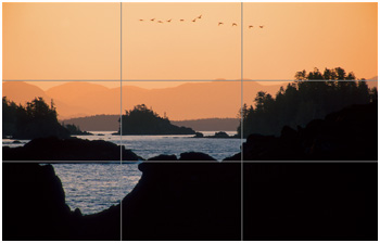Rule of thirds grid overtop of a photo by R. Berdan