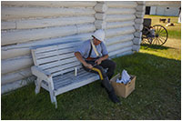 Officier at Fort Walsh cleaning his gun by Robert Berdan ©