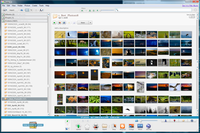 Screen shot of Picasa 3 showing thumbnails images by Robert Berdan ©