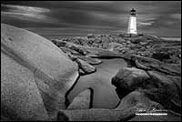 Peggy's Cove Light House in Black and white Nova Scotia by Robert Berdan