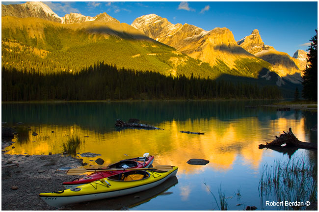 Kayking Jasper National Park, photo taken with 2 F-stop neutral density grad filter by Robert Berdan ©