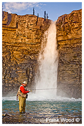 Fly Fisherman in front of Waterfall by Frank Wood ©