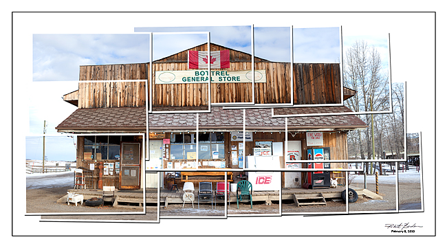 Hockney style photograph of General Store in Bottrel, Alberta by Robert Berdan ©