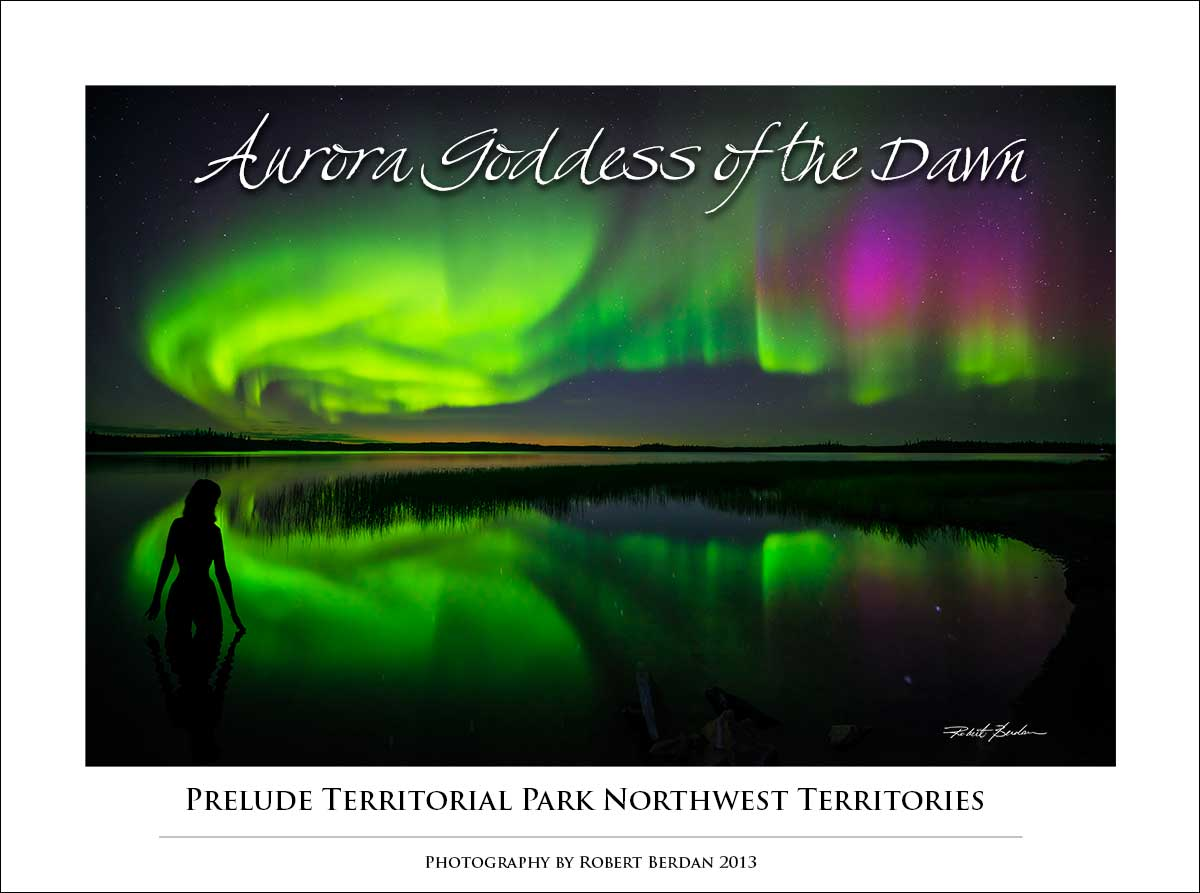 Aurora Borealis at Prelude lake - poster by Robert Berdan