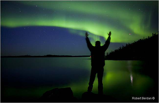 Silhoutte of person in front of Aurora on Prelude lake by Robert Berdan ©