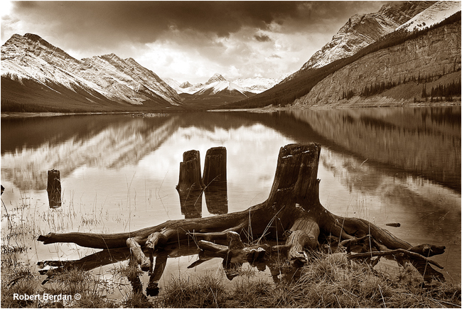 Spray lakes photo sepia toned by Robert Berdan ©