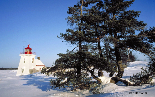 Brebeuf lighthouse in winter by Karl Berdan ©