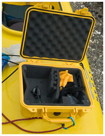 Pelican case to store camera while kayaking by Robert Berdan ©