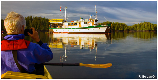 Kayker photographing the Columgia III mothership by Robert Berdan ©