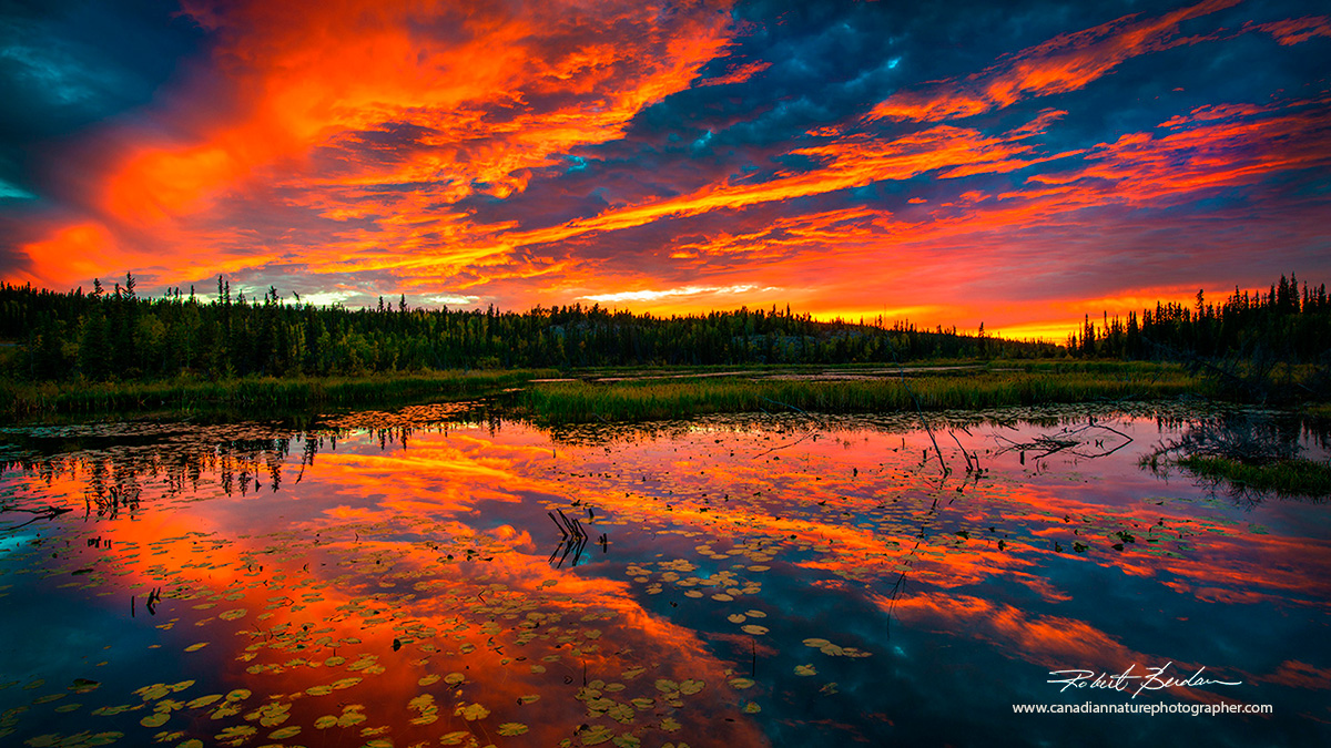 Sunset near Yellowknife with horizon in the center of the picture by Robert Berdan ©