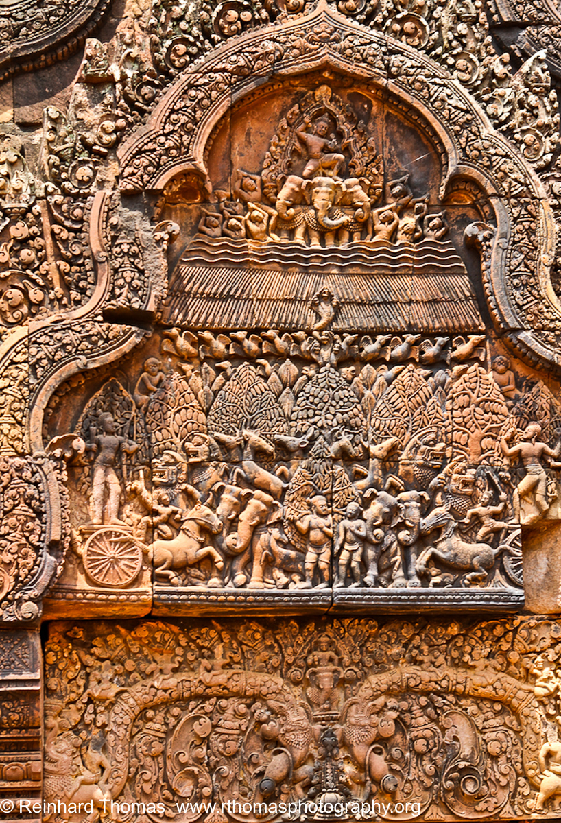 carvings inside the Bantey Srei Temple Cambodia by Reinhard Thomas ©