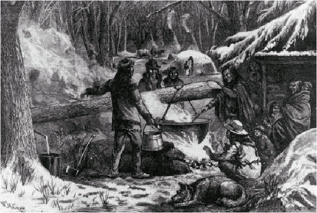 Early artwork showing first nations making maple syrup - Wikipedia source