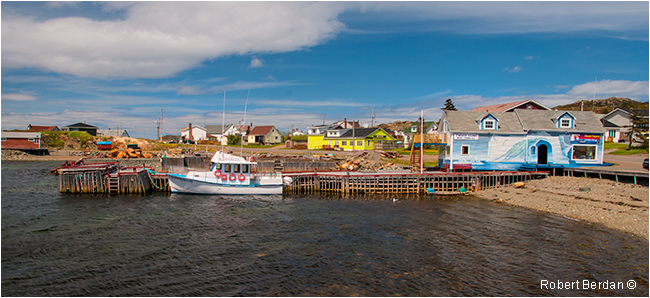 Iceberg man tours dock and boat in Twillingate Newfoundland by Robert Berdan ©