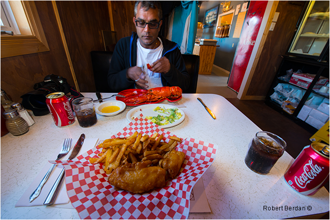 Fish and Chips, Lobster meal in Twillingate restaurant by Robert Berdan ©