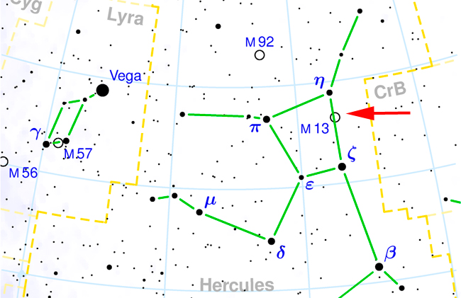 M13 constellation chart