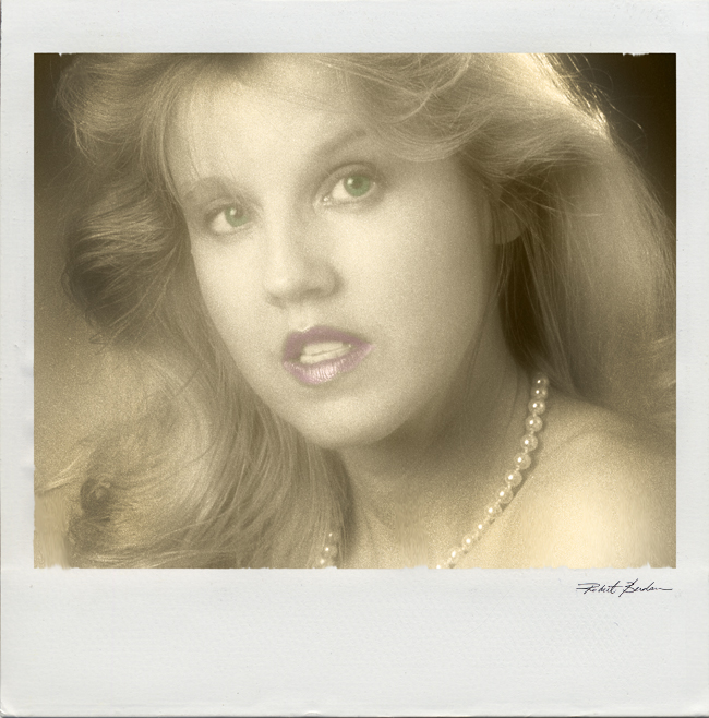 Portrait of Donna Berdan - simulated Polaroid and hand tinting by Robert Berdan