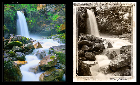 Waterfall in colour and after toning and embedding in a Polaroid mask by Robert Berdan
