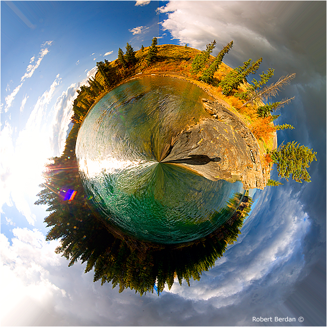 Planetary panorama of the Bow River by Robert Berdan ©