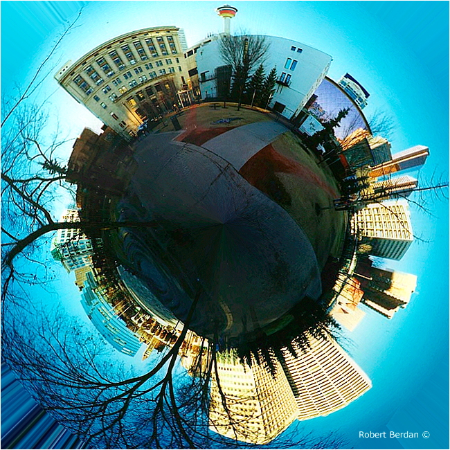 Planetary panorama of Down town Calgary by Robert Berdan ©