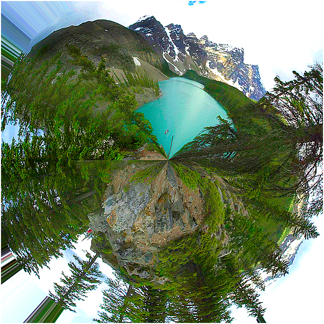 Moraine lake planetary panorama by Robert Berdan ©