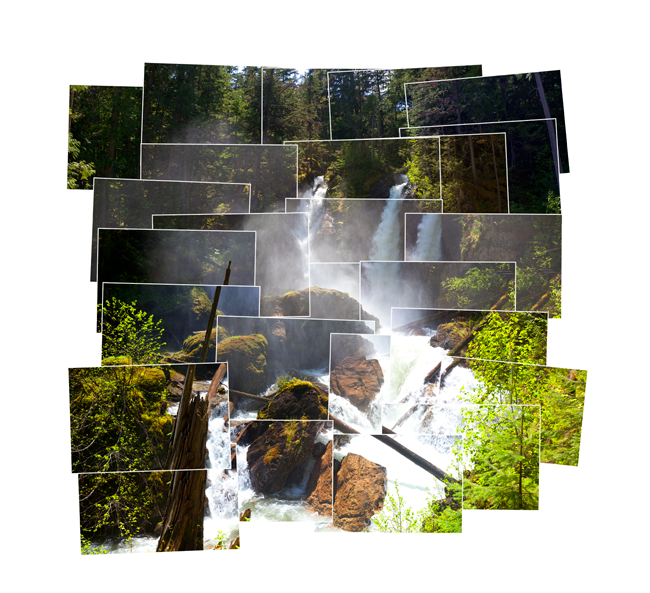 Hockney style montage of Begbie creek waterfalls by Robert Berdan ©