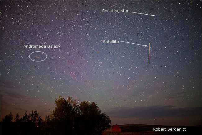 Andromeda Galazy, shooting star and satellite by Robert Berdan ©