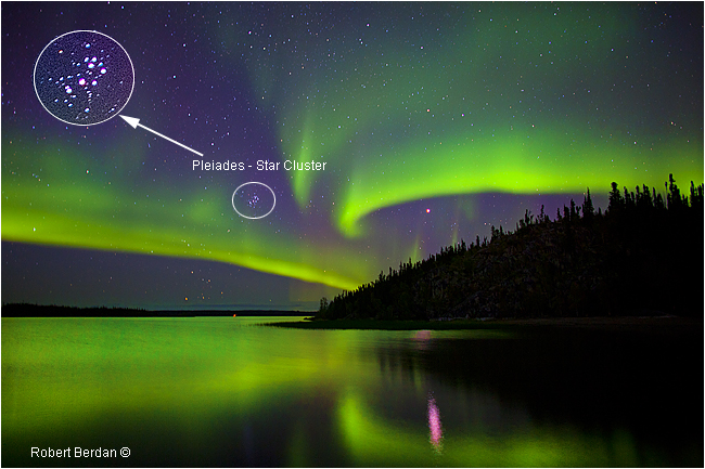 Aurora Borealis and Pleiades star cluster, Prelude Lake, NWT by Robert Berdan ©