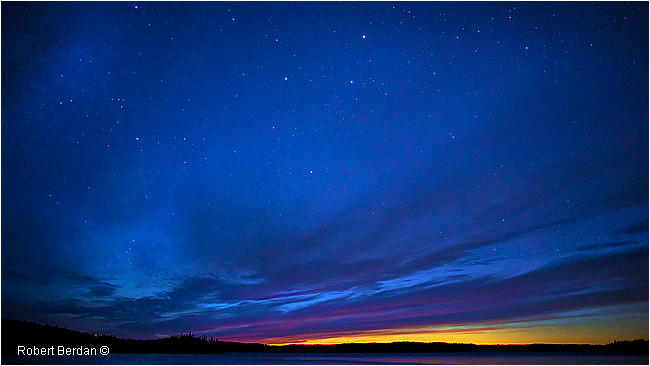 Sunset and the big dipper abover Prelude Lake, NWT by Robert Berdan
