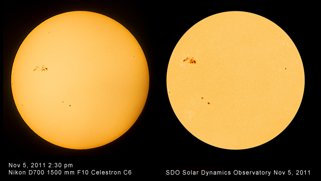 Photos of Sun by Robert Berdan and SDO