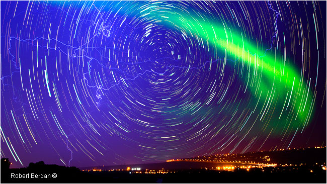 Star trails lightening and aurora over Stoney trail Calgary by Robert Berdan ©