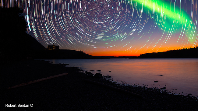 Star trails, aurora over Waterton Lake by Robert Berdan ©
