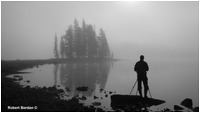 Peter Dettling and tripod in front of Spirit Island by Robert Berdan ©