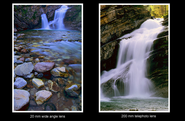 Cameron Falls photographed with different focal lengths by Robert Berdan ©
