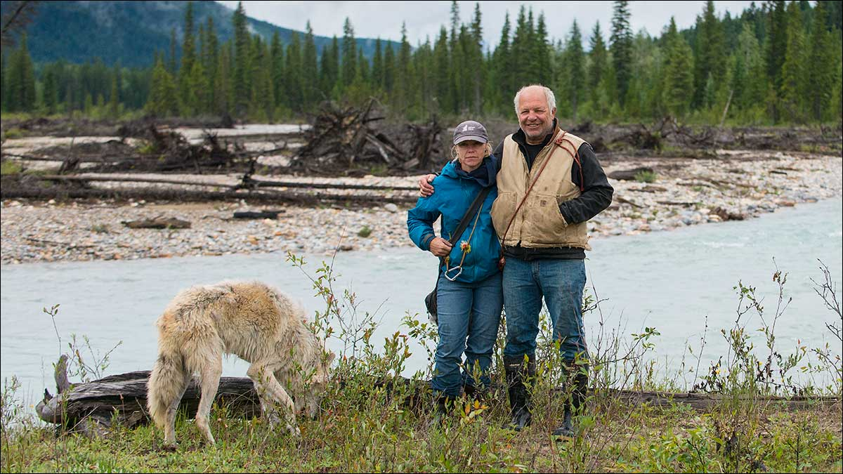 Shelly and Casey Black in Blaeberry Valley with one of their wolves by Robert Berdan ©