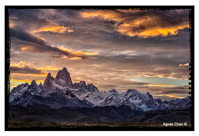 Mount Fitz Roy sunset. The image was taken from a meadow near El Chaltén by Agnes Chan ©