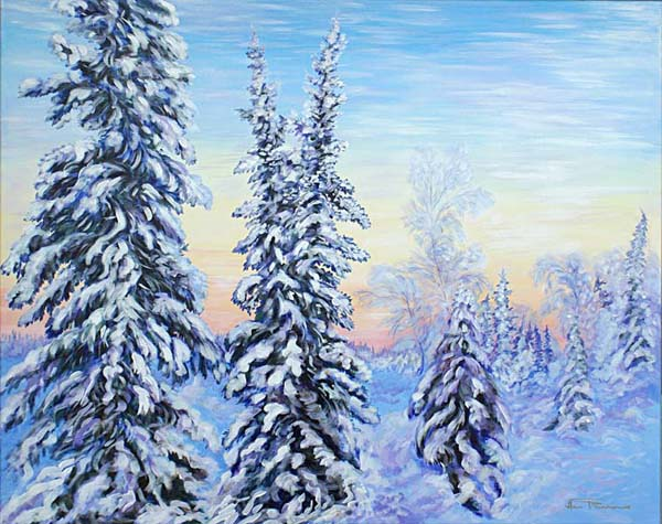 Winter Morning Walk acrylic painting on canvas by Ann Timmins ©