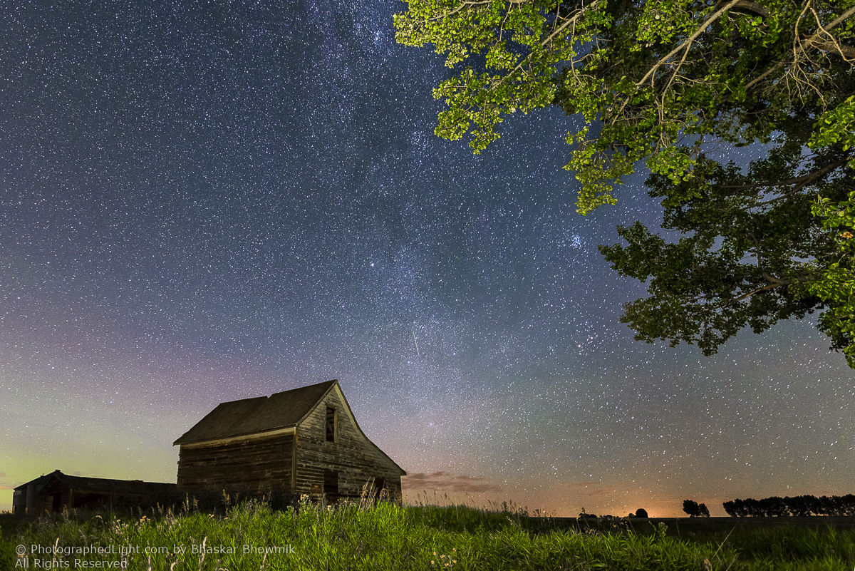 Meteor over barn by Bhaskar Bhowmik ©