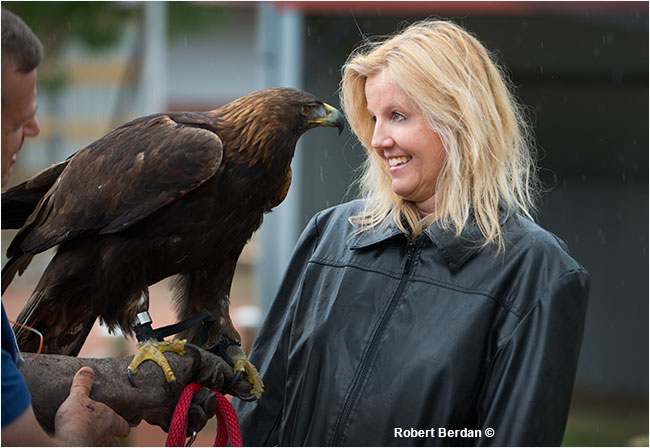 Donna Berdan meets an injured Golden Eagle, Spirit at the Birds of Prey Centre, Coaldale, AB by Robert Berdan ©