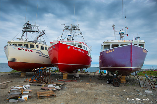 Shipyard where several boats were being repaired Nova SCotia by Robert Berdan ©