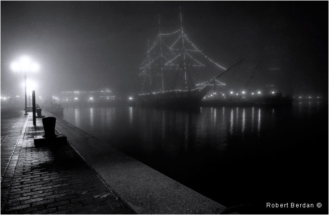 Ship in Fog with lights Baltimore Harbour black and white by Robert Berdan ©