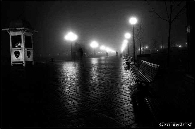 Black and white photograph of Balitmore harbour walk in fog by Robert Berdan ©