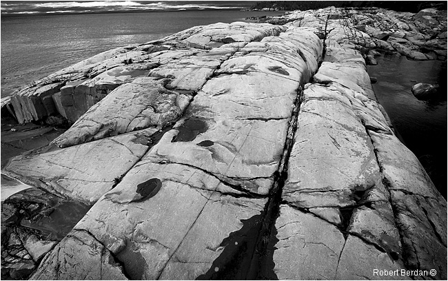 Canadian Shield showing streaks and scratches from the Glaciers - Killarney by  Robert Berdan ©