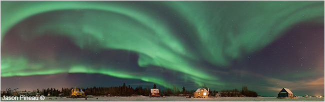 Northern Lights above Yellowknife's houseboat community by Jason Pineau ©