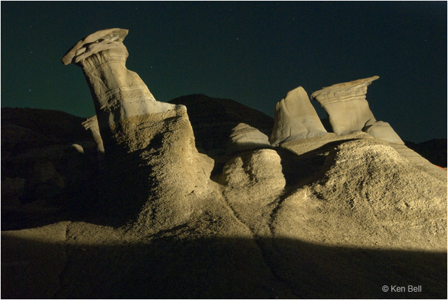 Hoodoos at night by light painting by Ken Bell ©