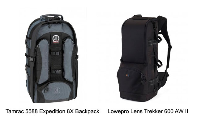 Tamrac and Lowepro Lens Trekker 600 AW II camera bags