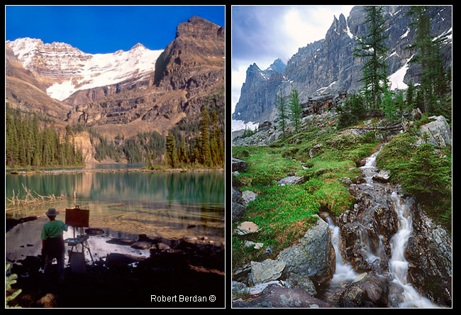 Painter - Lake Ohara and waterfall on Opapin Plateau, Lake O'hara by Robert Berdan ©