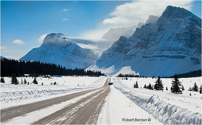 Highway 93 heading toward Bow Lake in winter by Robert Berdan ©